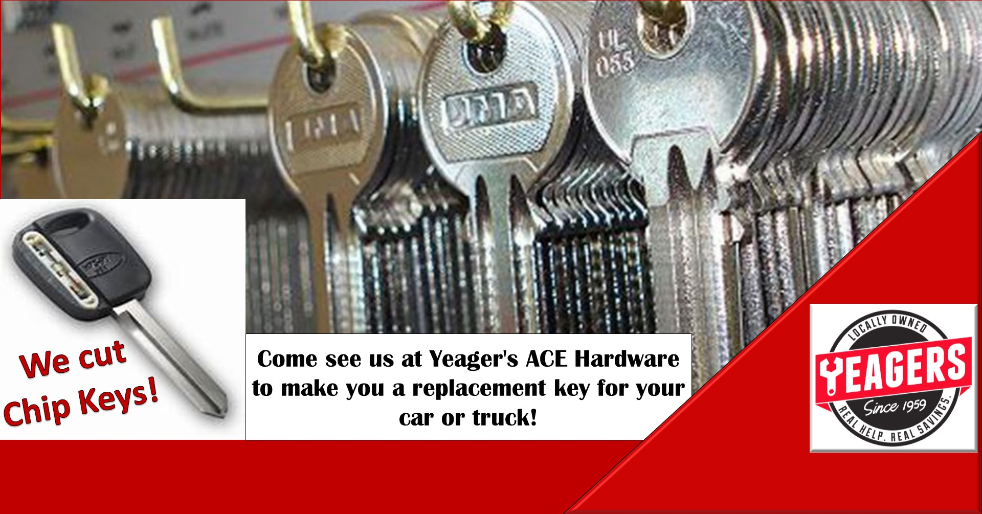 Need a duplicate key for your car or truck? YEAGERS can help!