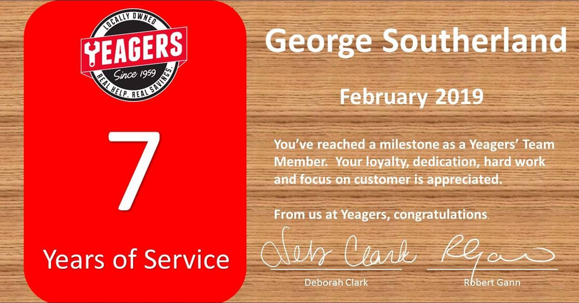Congratulations George
