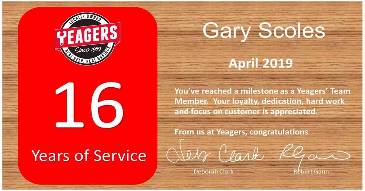 Congratulations Gary