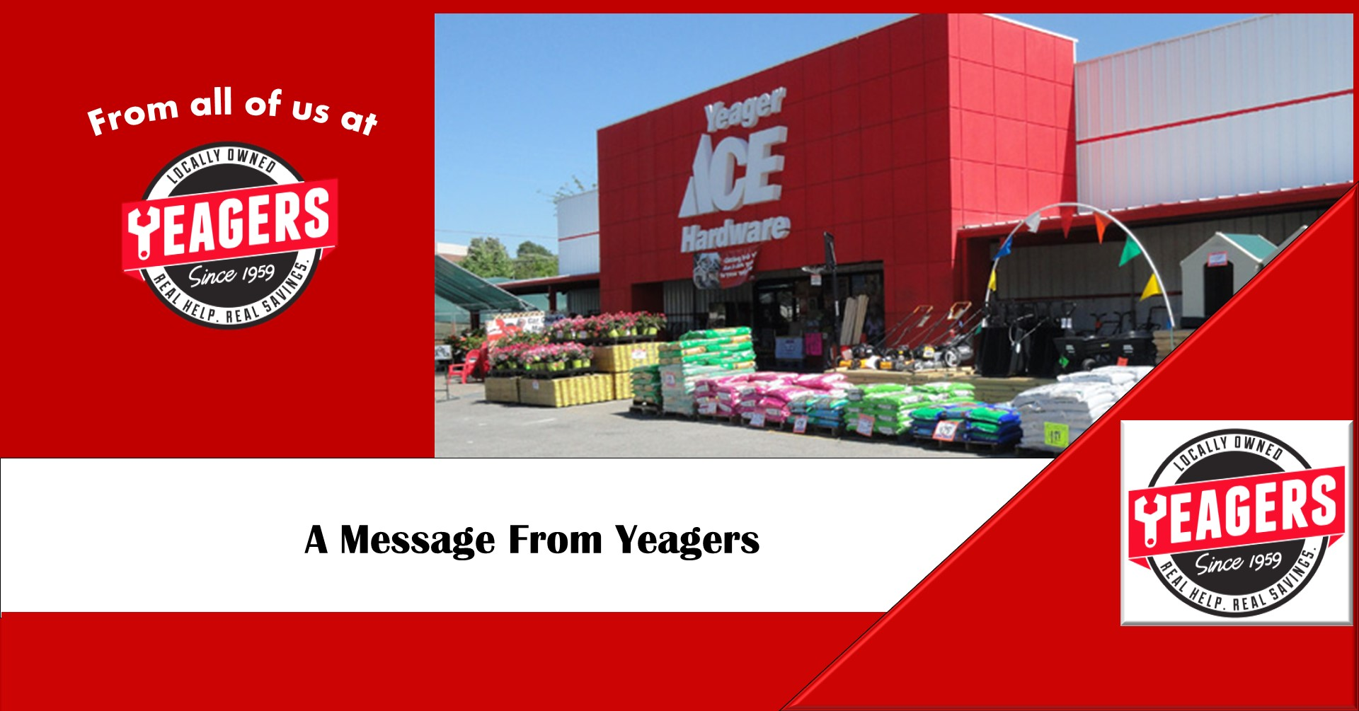 A message from the team at Yeagers